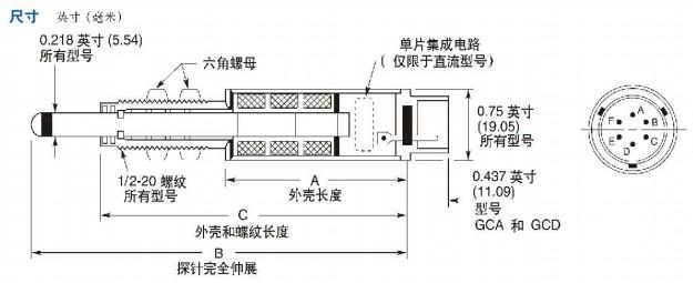 GCA位移传感器:GCA/GCD系列测量头为不锈钢结构,可以在含有湿气、灰尘和其它杂质的环境中工作。电子组件采用了气密封,可以进一步抵御恶劣的工作状况。它们是量程可达±2.0英寸(50毫米)的长行程侧向负载较重型传感器。最大弹力一般为8盎司(226.8克 ),具体取决于探针位置。工作端或探针具有可拆卸的镀铝硬质工具钢4-48UNF-2A螺纹接触端头。Schaevitz提供多种型号的备用接触端头(请参见第92页)。这些端头还可以与AGD刻度盘指示器端头互换使用。 测量头的内部构造可以防止铁芯和